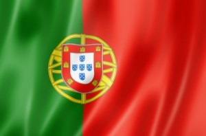 Portugal flag, three dimensional render, satin texture